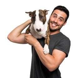 man holding pitbull