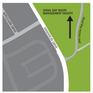 map to shoal bay waste management facility. Entrant off of Vanderlin Drive