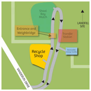 the recycle shop at shoal bay is off the access rad before the weighbridge