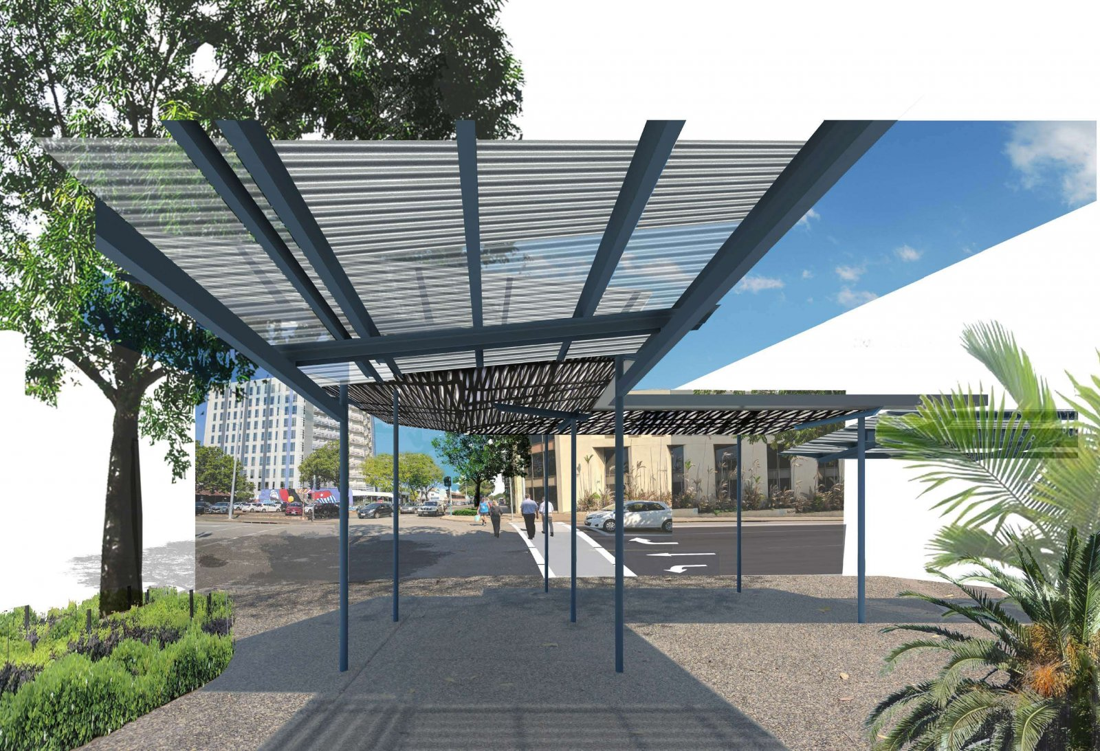Concept Design  of Shade Structures (view along Cavenagh St)