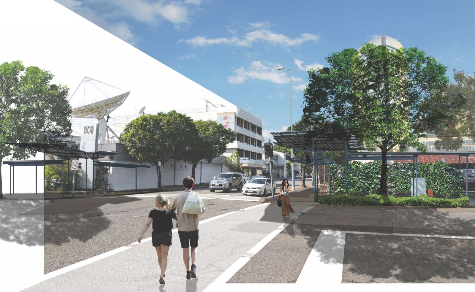Concept Design  of Shade Structures (view along Bennett St)