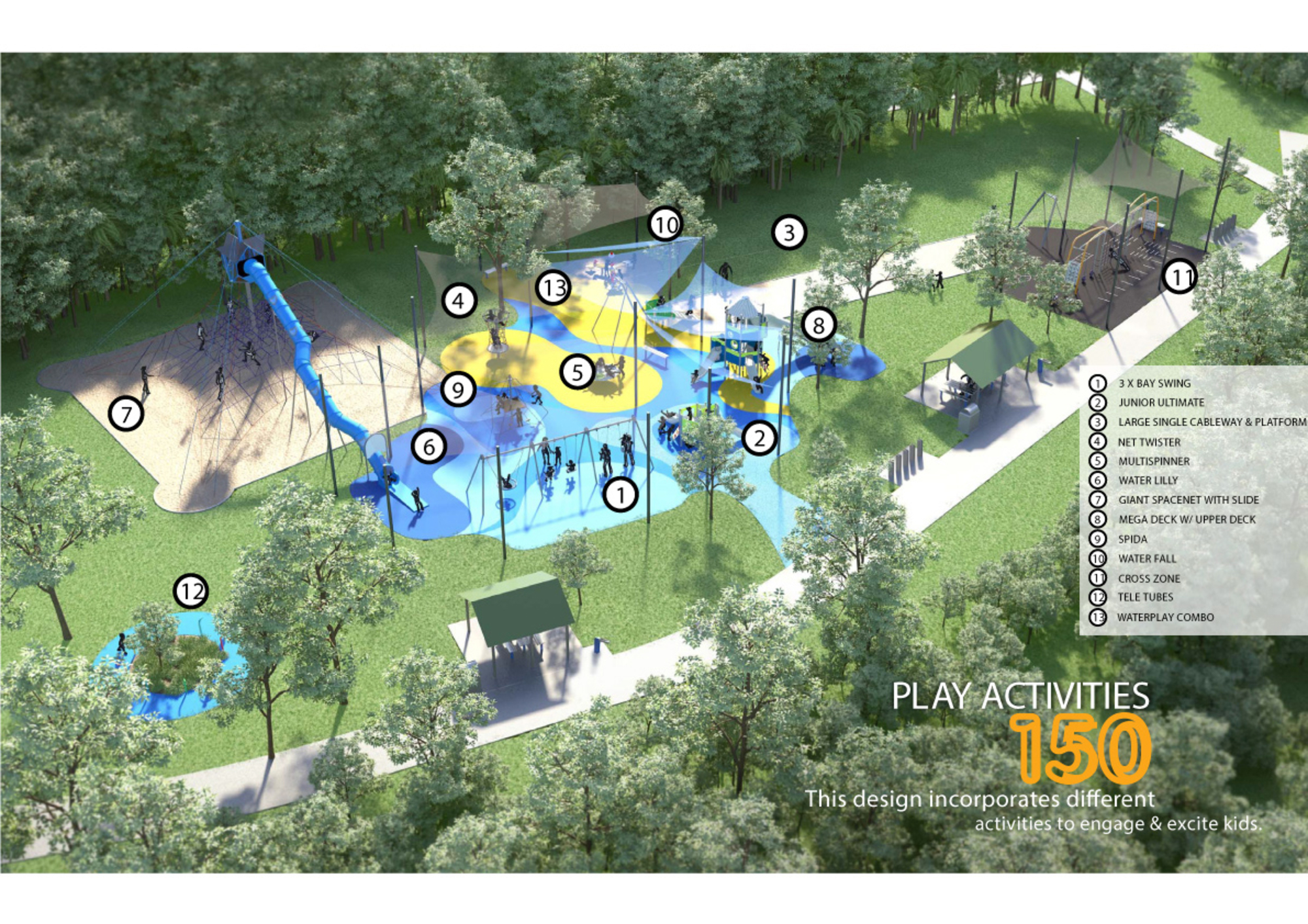 bicentennial play space design and artists impression with diagram of all equipment