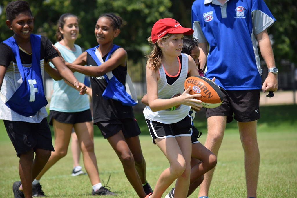AFL School Holiday Clinic, a partnership between City of Darwin, AFL NT and Headspace