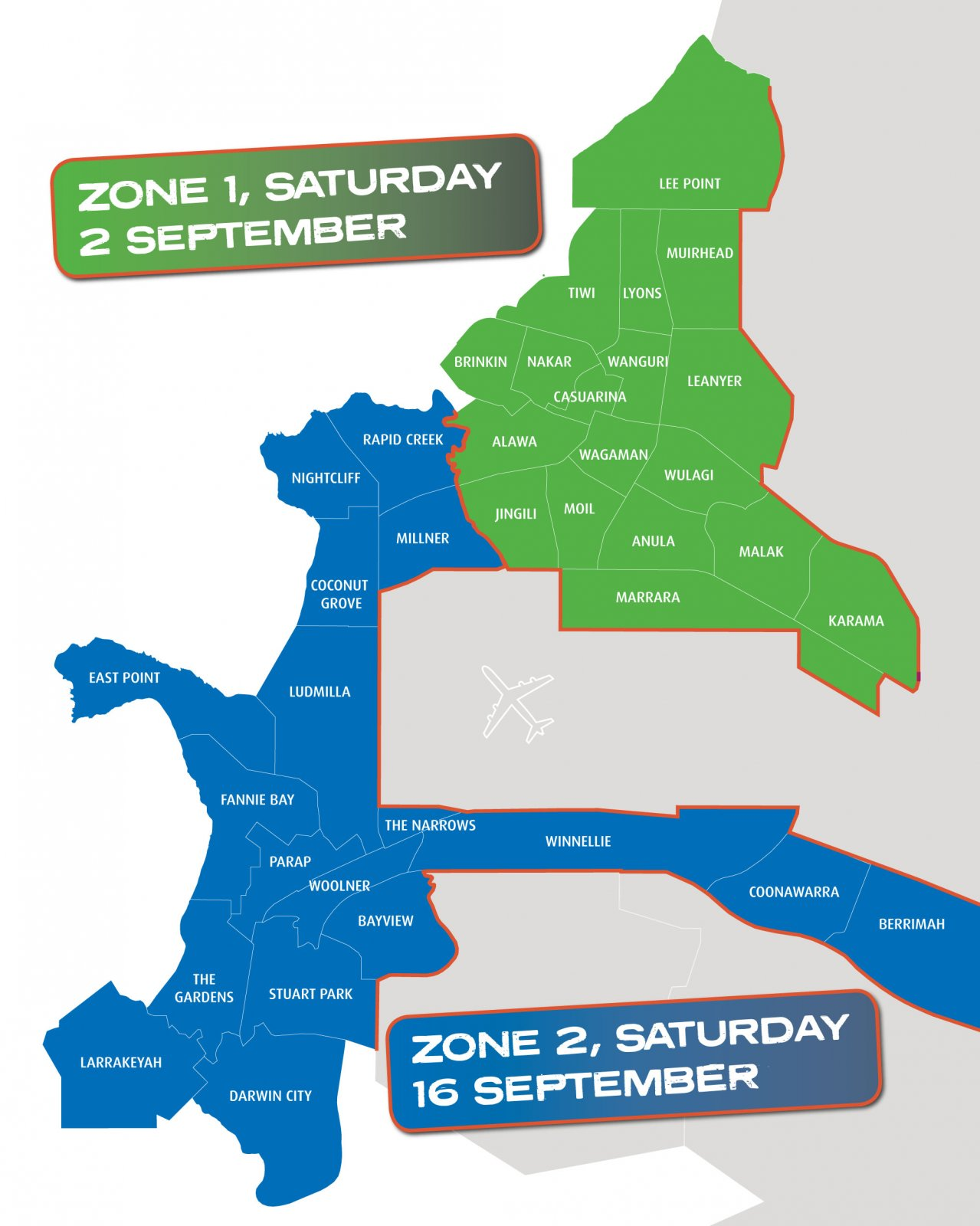 Pre-cyclone clean up map with zones