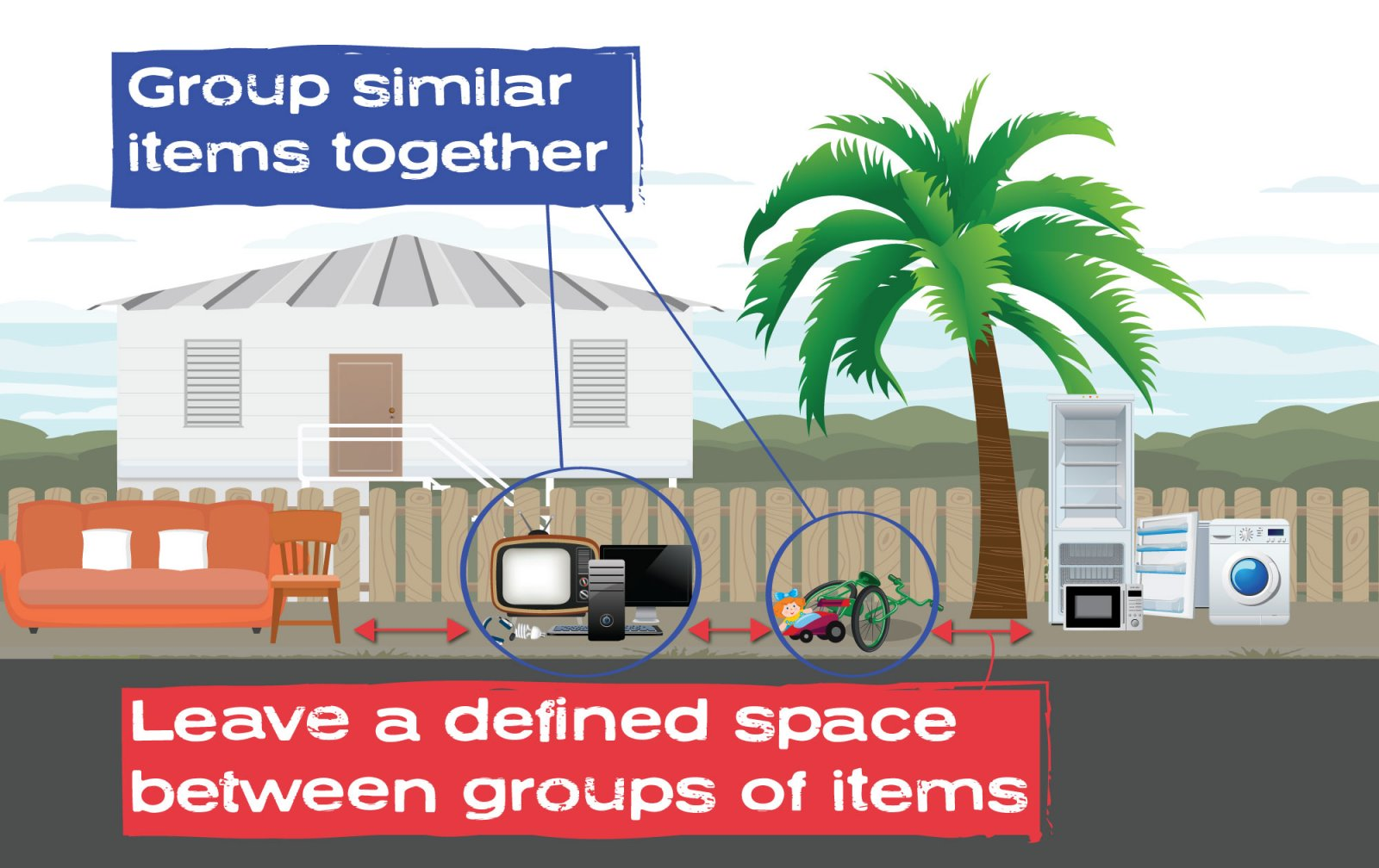 how to group your items for the pre-cyclone clean up